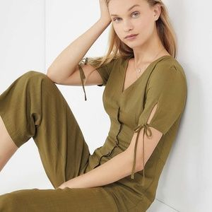 Urban Outfitters Button Down Linen Jumpsuit S NEW